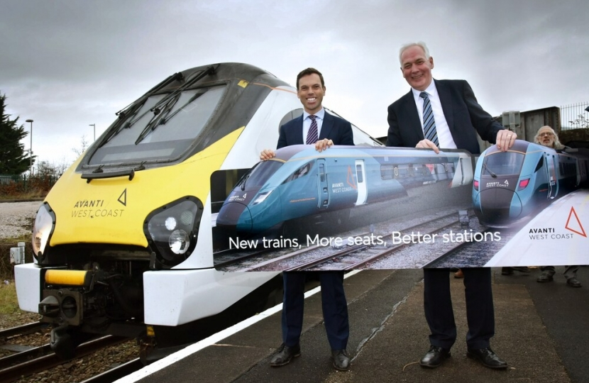 Welsh Transport Minister Ken Skates and First Rail Managing Director Steve Montgomery